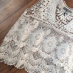 AQUA BOHO crochet knit top M FESTIVAL